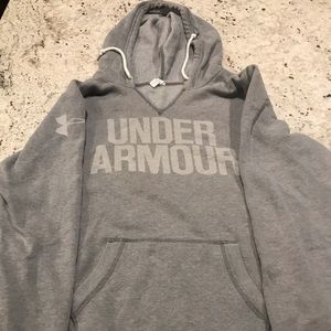 Under Armour V Neck Pullover Hoodie, Large, Gray